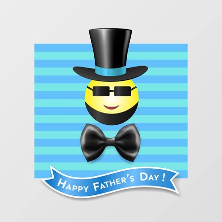 Happy Fathers Day comic vintage card with a round smiling bearded emoticon in sunglasses, top hat, bow tie, inscribed on blue ribbon in frame with striped background  イラスト・ベクター素材