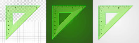 School supplies. Measuring tool. Green plastic transparent equilateral triangular ruler 7 cm and 3 inch for drawing lines, especially 90 and 45 degrees. Application examples on different backgrounds Stock fotó - 129813322