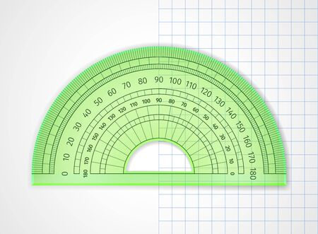 School supplies. Measuring tool. Green transparent plastic protractor on white and sheet in a cell. Drawing device is an arc divided into degrees to measure the angles and apply them to the drawing
