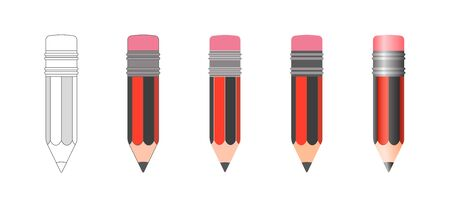 Set of vector isolated pencil icons of black and red striped coloring with rubber band at the end in various design styles. Sketch, flat, 3d realistic cartoon 일러스트