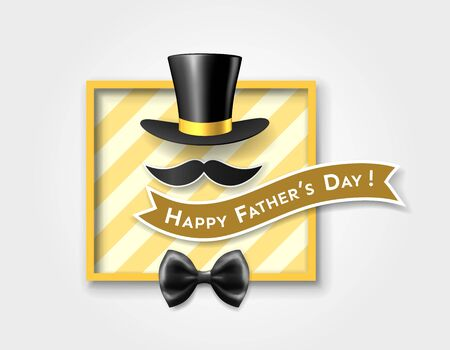 Vintage card of happy father's day with retro top hat, mustache, bow tie, inscription on ribbon in frame on striped background. Vector illustration Stok Fotoğraf - 129813336