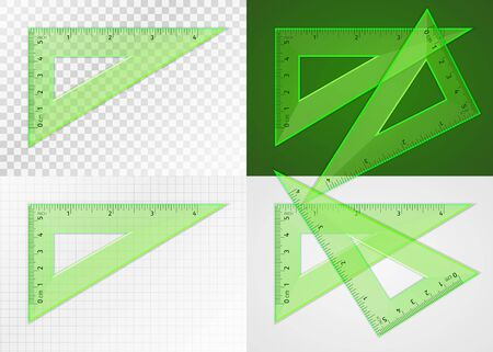 School supplies. Measuring tool. Realistic green plastic transparent triangle ruler 5 cm and 4 inch for drawing lines at angle of 90, 60 and 30 degrees. Application examples on different backgrounds