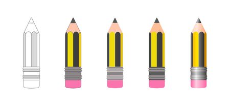 Set of vector isolated pencil icons of black and yellow striped coloring with rubber band at the end in various design styles. Sketch, flat, 3d realistic cartoon