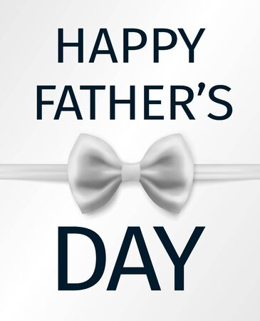 Happy Father's Day Greeting Card with white bow tie Standard-Bild - 129813342