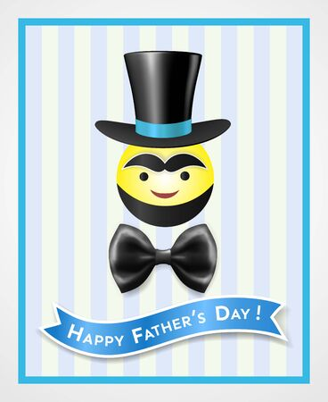 Comic vintage card of happy fathers day with a round smiling emoticon with a beard, eyebrows, wearing a top hat, bow tie, with inscription on ribbon in frame on striped background