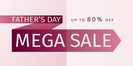 Fathers Day Mega Sale Offer leaflet. Untied red tie with the inscription and the percentage of discounts. 80% off. Vector template for banner promotion, advertising, flyer, invitation, poster, brochure, discount Çizim