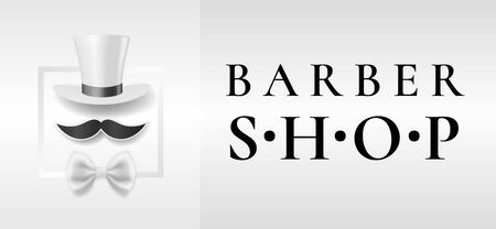 Gentlemans barber shop emblem with white tall hat, white bow tie and black mustaches Illustration