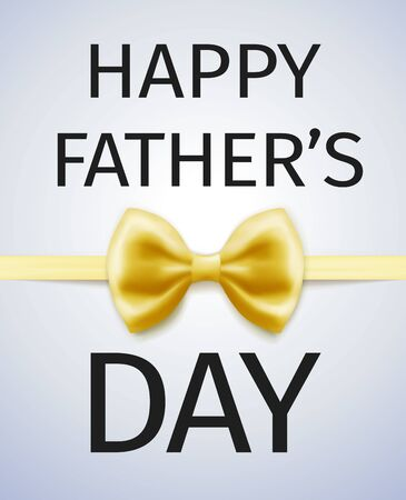 Happy Fathers Day Greeting Card with gold bow tie Çizim