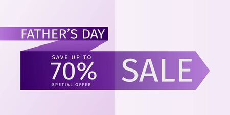 Fathers Day Sale Offer leaflet. Untied violet tie with the inscription and the percentage of discounts. 70% off. Vector template for banner promotion, advertising, flyer, invitation, poster, brochure, discount