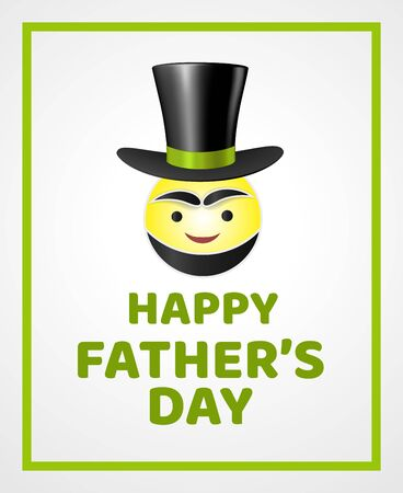 Comic vintage card of happy fathers day with a round smiling emoticon with a beard, eyebrows, wearing a top hat  イラスト・ベクター素材