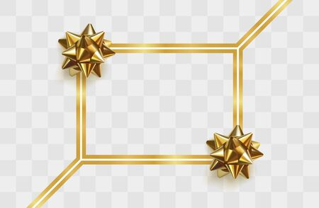 Elegant golden greeting card template with gold frame and shiny golden bows on transparent background. Festive decorative element for design. Holiday gift decoration. Realistic Vector Illustration