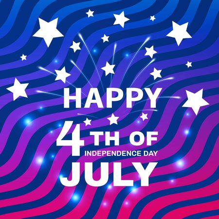 Patriotic holiday. The USA are celebrating 4th of July. Festive stylized striped background with fireworks