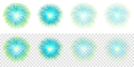 Set of blue fireworks isolated on transparent light background. Design element for holiday background in night sky. Vector illustration.