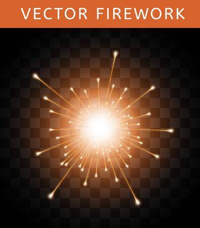 Vector Bright Colorful Orange Firework isolated on dark transparent background Иллюстрация
