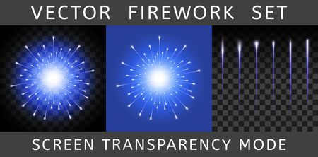 Vector Bright Colorful Blue Firework isolated on dark transparent background and example on blue. Salute using Screen transparency mode. Constructor of fireworks from the flash and set of tails Иллюстрация