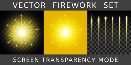 Vector Bright Colorful Yellow Firework isolated on dark transparent background and example on yellow. Salute using Screen transparency mode. Constructor of fireworks from the flash and set of tails Иллюстрация