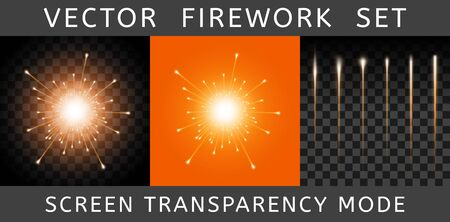 Vector Bright Colorful Orange Firework isolated on dark transparent background and example on orange. Salute using Screen transparency mode. Constructor of fireworks from the flash and set of tails
