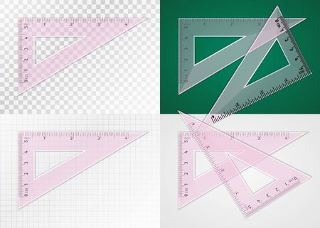 School supplies. Measuring tool. Realistic pink plastic transparent triangle ruler 5 cm and 4 inch for drawing lines at angle of 90, 60 and 30 degrees. Application examples on different backgrounds Vektoros illusztráció