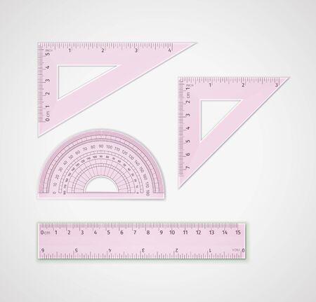 Przybory szkolne. Zestaw realistycznego różowego plastiku przezroczystego narzędzia pomiarowego: linijka trójkątna, linijka trójkąta równobocznego - do rysowania linii, szczególnie pod kątem 90, 45, 60 lub 30 stopni, linijka, kątomierz
