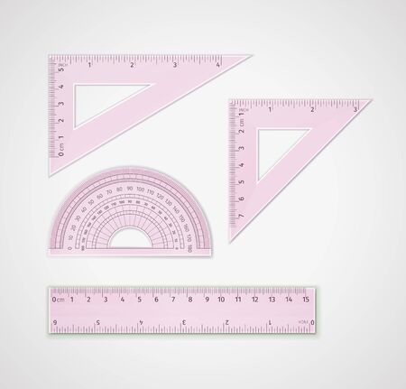 School supplies. Set of realistic pink plastic transparent measuring tool: triangular ruler, equilateral triangle ruler - for drawing lines, especially at 90, 45, 60, or 30 degrees, ruler, protractor
