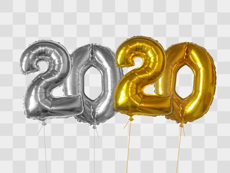 2020 number of silver and gold foiled balloons isolated on transparent background. Happy new year 2020 holiday. Realistic 3d vector illustration