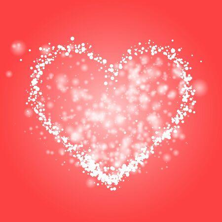 White heart of glitter light effect. Sparkling particles on coral red background. Sparkle stardust vector illustration Illusztráció