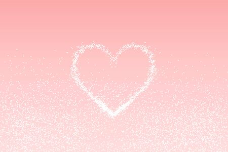 White heart of glitter light effect. Sparkling particles on pink background. Sparkle stardust vector illustration