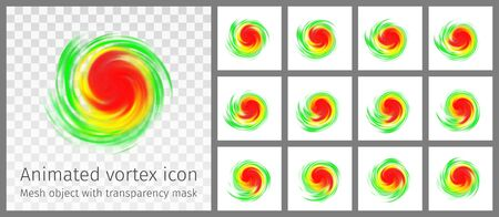 Vortex animated icon with intensity indication. Hurricane, tornado, typhoon, twister symbol isolated on white.