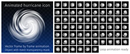 Animated Hurricane Icon with transparency. Rotating tornado, typhoon, white swirl clouds on dark background, top view. Danger cyclone vector frame by frame animation. Loop ready. Informative graphics