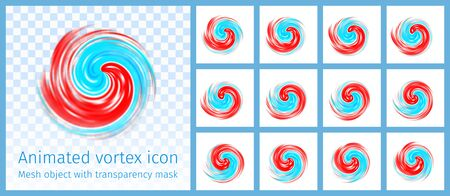 Red and blue vortex animated symbol. Hurricane, tornado, typhoon, swirl clouds, twister on light transparent background, top view.