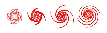 Hurricane Warning Signs Graphic Set. Icon, sign, symbol, indication of the hurricane, vortex, tornado 일러스트