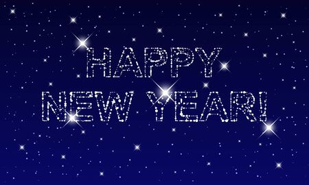 Happy New Year illustration made by points and stars on night sky, dark blue background. Vector illustration