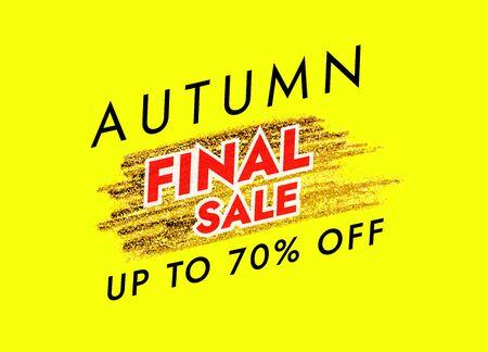 Autumn Final Sale Banner Template with Golden Brush Stroke. Vector illustration