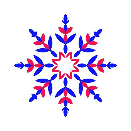 Colorful vibrant snowflake. Blue with red colors patterned symbol of snow flakes on white background. Vector illustration