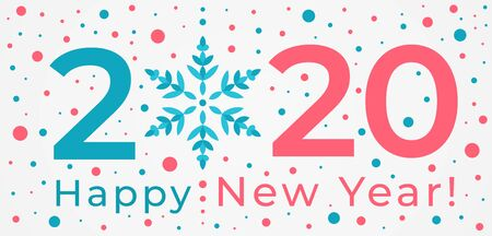 Happy New Year 2020 greeting card. Beautiful typographic design with snowflake symbol surrounded by snowflakes and confetti in red and blue. Holiday vector horisontal illustration Illusztráció