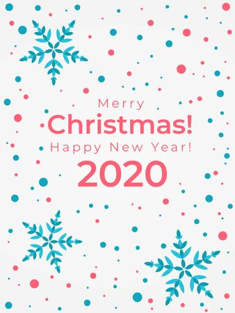 Merry Christmas postcardMerry Christmas and Happy New Year 2020 greeting cardsnowflakes and confetti in red and blue. Holiday vector vertical illustration Illusztráció