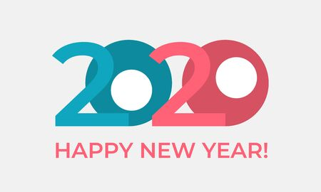 Happy New Year 2020 greeting card. Beautiful typographic design of paper numbers 2 and 0 in a funny cartoon style. Holiday vector horisontal illustration Illustration