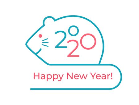 Happy New Year! The Symbolic for 2020 is a Rat according to the Chinese, Eastern calendar. Minimalist line art for festive greeting cards, greetings, posters, advertising, branding Çizim