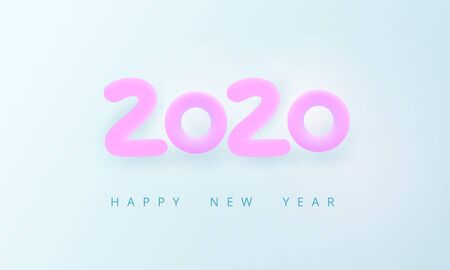 Happy New Year 2020. Tender holiday card. Pink volumetric number 2020 on a light blue background. Cozy, airy, bright, soft style. Calm pure joyful magic mood. Vector illustration