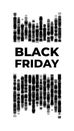 Black friday vertical banner. The inscription with the elements of a stylized black brick wall. Abstract design to illustrate the beginning of discounts and the opening of pre-holiday sales season Çizim