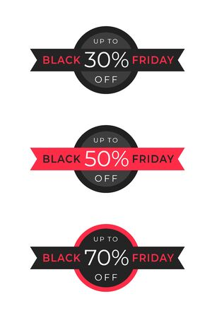 Black friday percent discount tag on black ribbon with a circle. Set of different variations. Template design for marketing advertising campaigns, presentation design, announcements, sites, landings  イラスト・ベクター素材