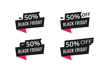 Black friday sale tag. Black and red paper banner with discount percentage of 50. Four combination. For advertising, announcements, online stores, signage, attracting customers, informing users