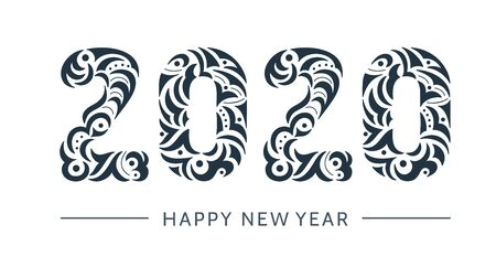 Happy 2020 new year vintage banner for your seasonal holidays flyers, greetings and invitations, christmas congratulations and cards. Openwork hand drawn symbol lettering 2020. Patterned illustration
