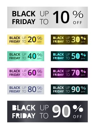 Set di banner promozionali del Black Friday. Buoni sconto con diverse percentuali. Etichette luminose con testo fluorescente