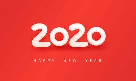2020 happy new year beautiful greeting card. Soft white number 2020 on a pure red background in minimalism style