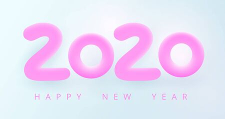 Happy New 2020 Year greeting card. Tender holiday vector illustration of pink 3D numbers 2020. Cozy, airy, bright, soft style. Calm pure joyful magic mood. Festive poster, flyer or banner design Çizim