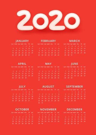 2020 colorful calendar template. White months of the year with 3D number 2020 in the header on a red background. Week starts from Sunday. Vector illustration