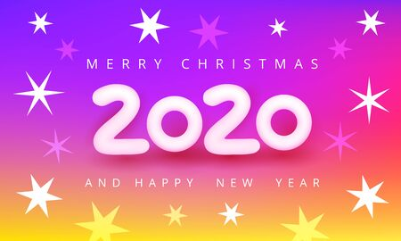 Merry christmas and happy new year 2020 colorful vector illustration. White 3D number 2020 on violet-red-yellow background with snowflakes. Holiday poster, flyer or banner design