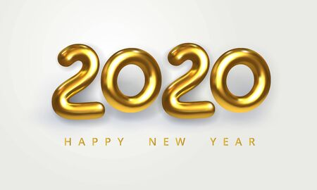 2020 Happy New Year greeting card. Holiday vector illustration of shiny golden metallic numbers 2020. Realistic 3d sign isolated on white. Festive poster, flyer or banner design