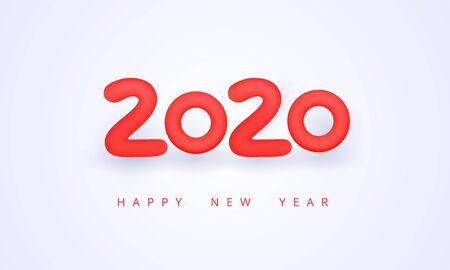 2020 Happy New Year beautiful greeting card. Holiday vector illustration of red numbers 2020. Festive poster, flyer or banner design